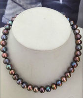 stunning 10 11mm tahitian natural black green red multicolor pearl necklace 18Free shipping