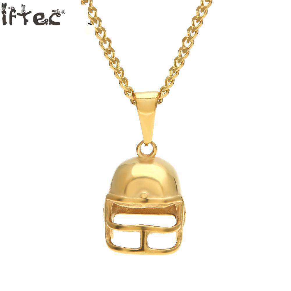 Iftec Hiphop Golden American Football Helmet Pendant Necklace Stainless Steel Gold Color Rugby Ball Sport Fashion Jewelry Men