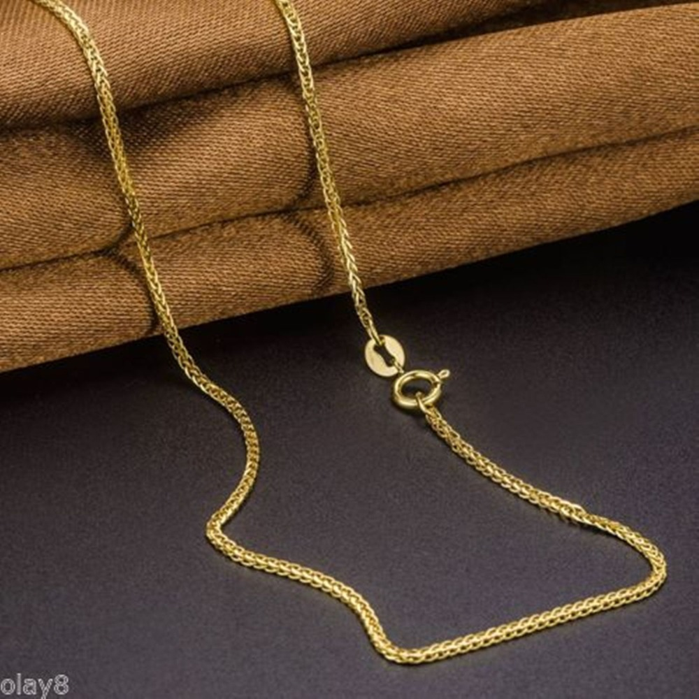 Image 4 - Fine Au750 Real 18K Yellow Gold Chain Women Wheat Link Necklace 18inch-in Necklaces from Jewelry & Accessories
