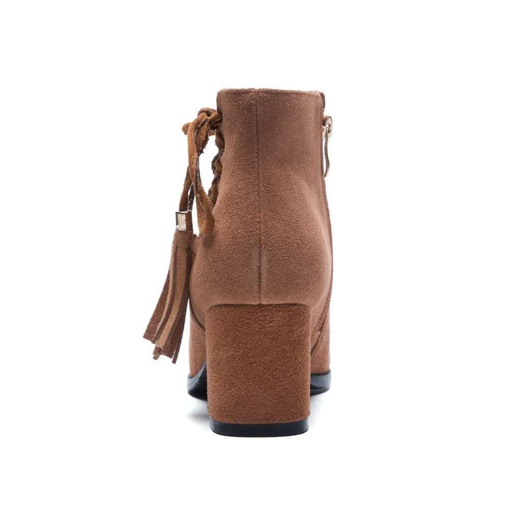 2018 süperstar büyük boy inek süet fringe kare topuk yarım çizmeler pist tatlı bayan moda çizmeler sıcak kış ayakkabı tutmak L3f2