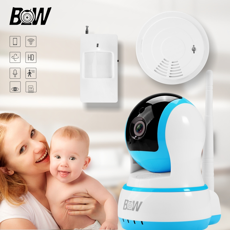 PTZ 2 Way Audio Wifi Camera IP + Infrared Motion Sensor/Smoke Detector Baby Monitor Home Alarm System Security IP Camera BW13B 720p hd ip camera security door sensor infrared motion sensor smoke gas detector wifi camera monitor equipment alarm bw13b
