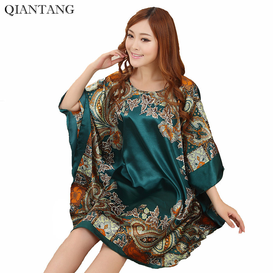 New Arrival Chinese Women's Faux Silk Robe Bath Gown Yukata Nightgown One Size Flower Nuisette Pijama Mujer One Size Zh789F