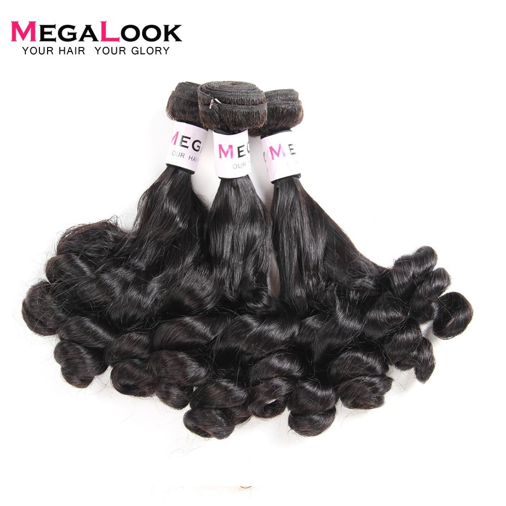 Megalook Bundles With Lace Closure Free Part 3 Bundles Deals With 4*4 Closure Pear Flower Curl 100% Human Remy Hair 4 Pcs/lot