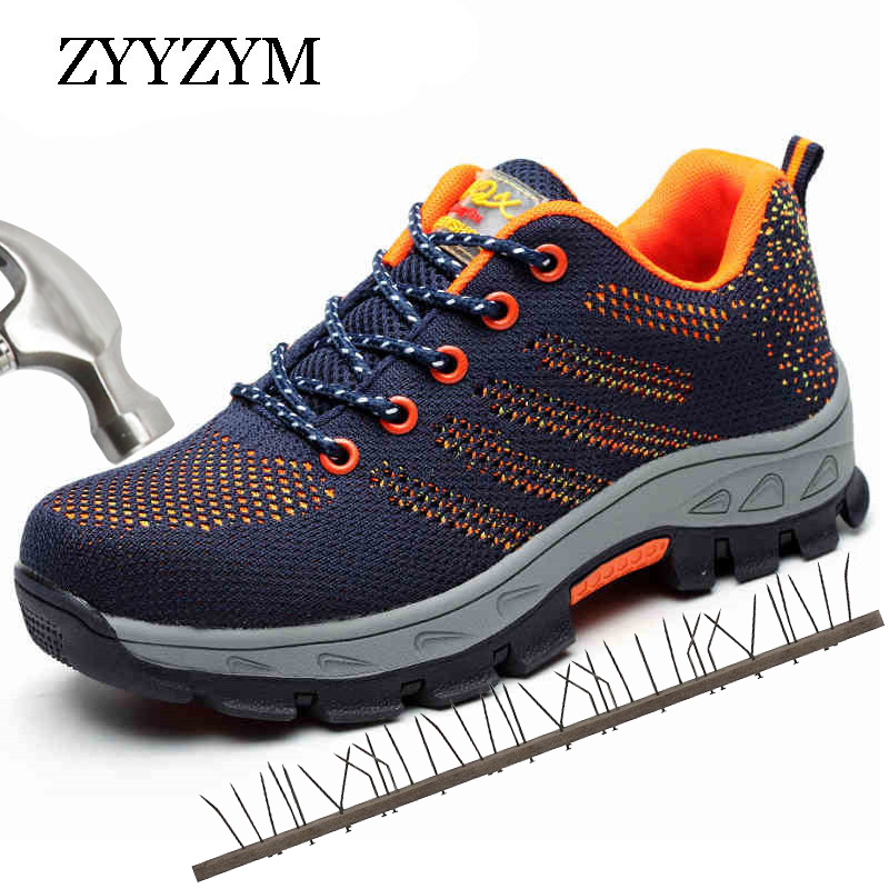 ZYYZYM Men Working Safety Boots Plus Size Outdoor Steel Toe Breathable Sneakers Protective Puncture Proof Safety Shoes For Men