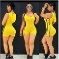 2016 Vendaje Jumpsuit Spandex Mono de Una Pieza del traje de Baño de Verano Leotardo Con Capucha Mamelucos Cortos Sexy Club Wear Bodycon Casual