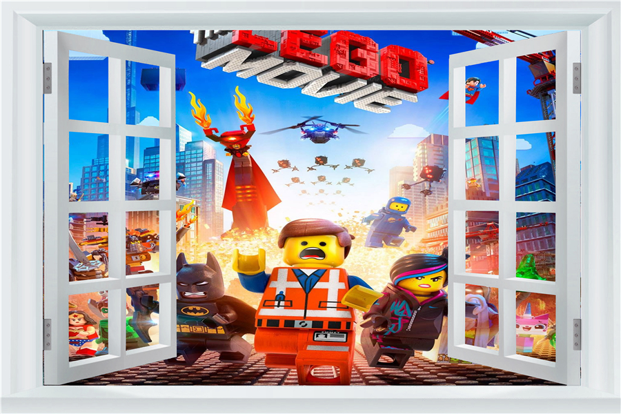 Лига Справедливости Стикеры окна Lego обои DC Comics Lego плакат Супергерои Наклейки на стену Бэтмен росписи Украшения в спальню #2702 #