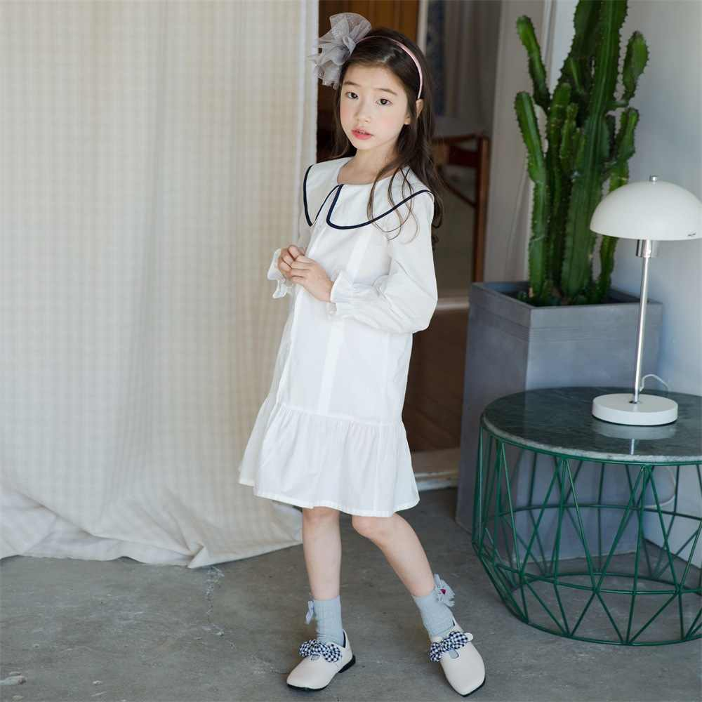 27003eb00ead6d 2019 Spring New Leisure Preppy Style Cotton Korean Girls Dresses Baby  Princess Dress Teenage Clothes Kids