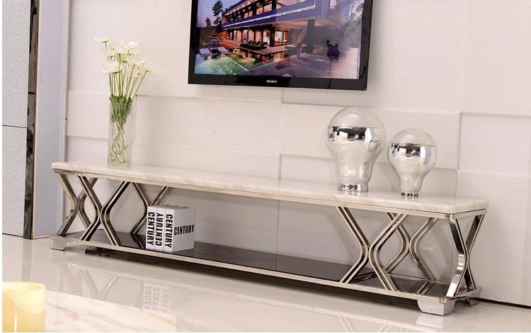 Moderne marmeren salontafel tv kast woonkamer tv stand tv - What size tv for living room chart ...