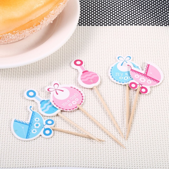 Hot Boy/Girl Type Kids Birthday Cute Cupcake Toppers Baby Shower Cake  Decorations 18 Pcs