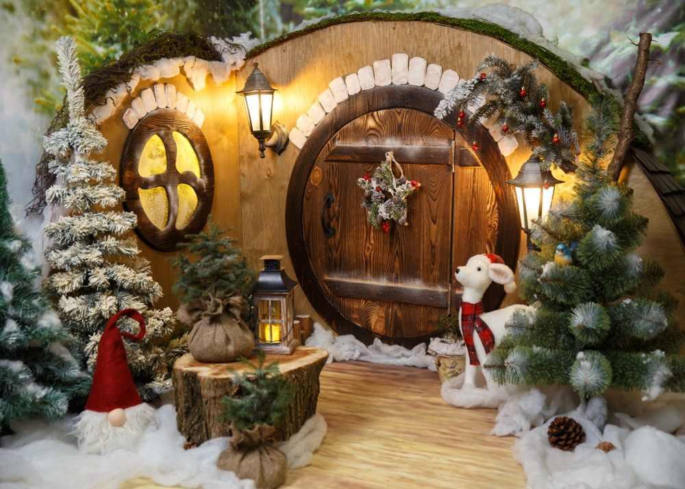 Capisco hiver photographie décors arbre de noël cerf cadeau lanterne enfants cadeau arrière-plans de pin Photocall pour Studio Photo