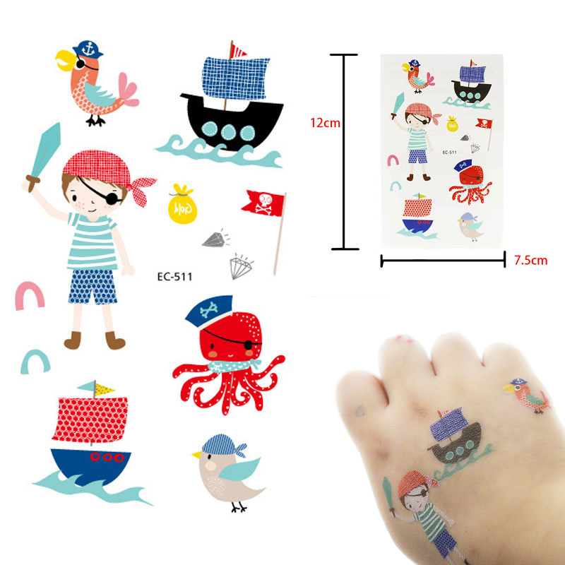 Cartoon Pirates Tattoo For Kid Cute Fake Taty Children Tatouage Temporaire Body Art Waterproof Animals Temporary Tattoo Sticker