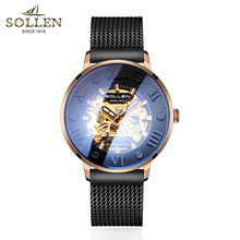 Skeleton Tourbillon Mechanical Watch Men Automatic Classic Rose Gold Leather Mechanical Wrist Watches Relogio Masculino цена и фото