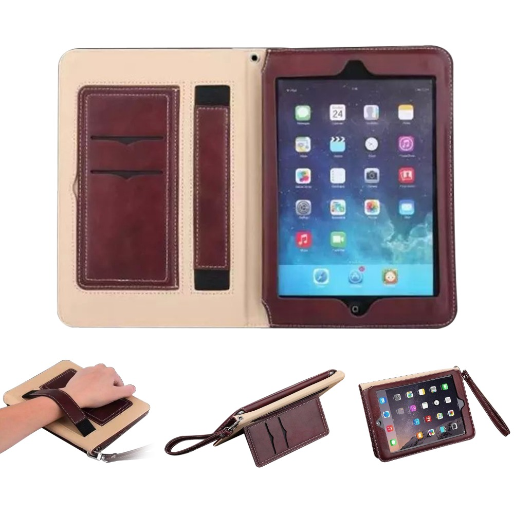 For iPad 2018 2017 9.7 Case Genuine Leather Case Multi Function Cover Card Slots Stand Wrist Strap Funda Smart Flip Folio Case цена