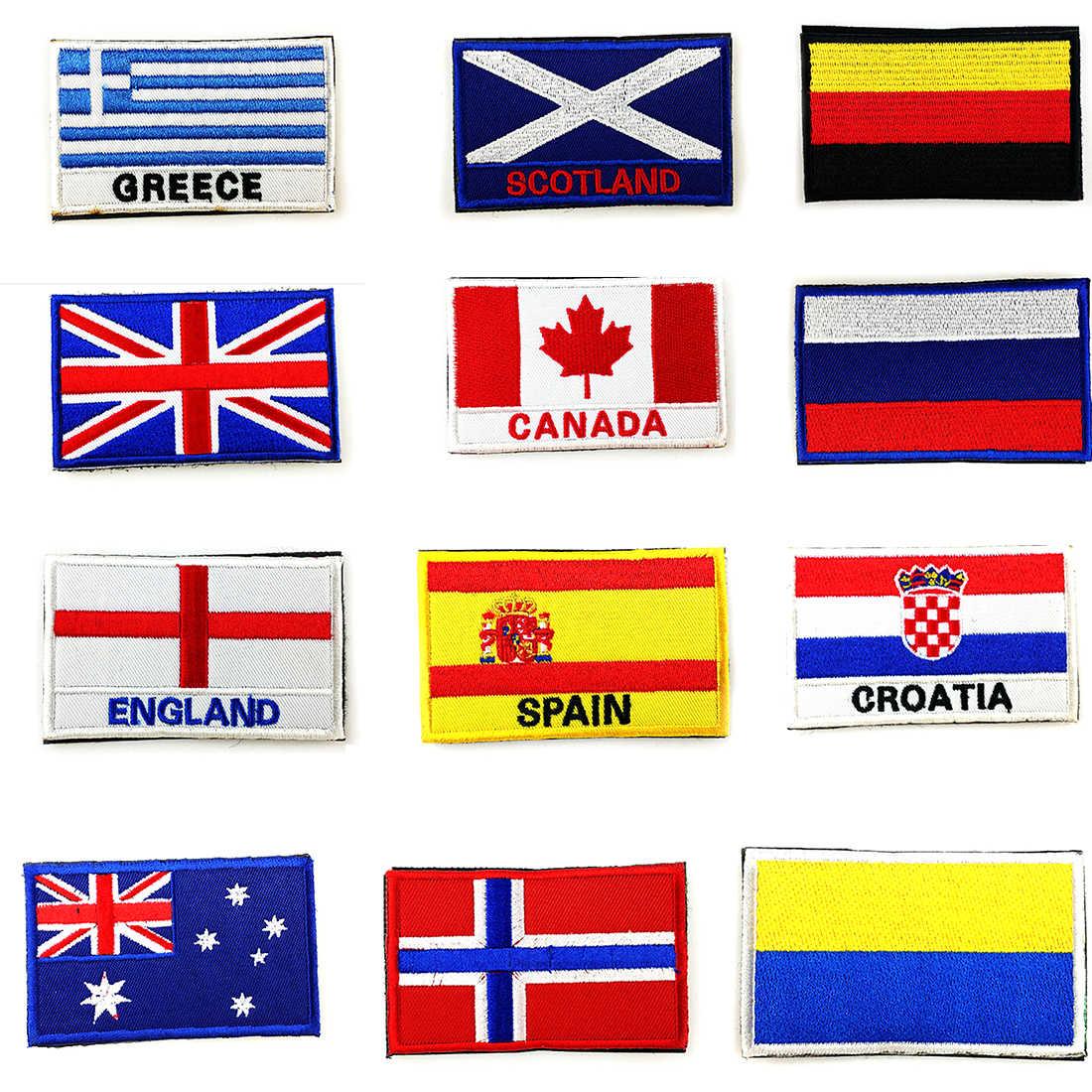 Parche bordado 3D con bandera de Alemania, Reino Unido, Japón, Israel, Corea, Egipto, parche para coser en la ropa, mochila con brazalete, aplique adhesivo