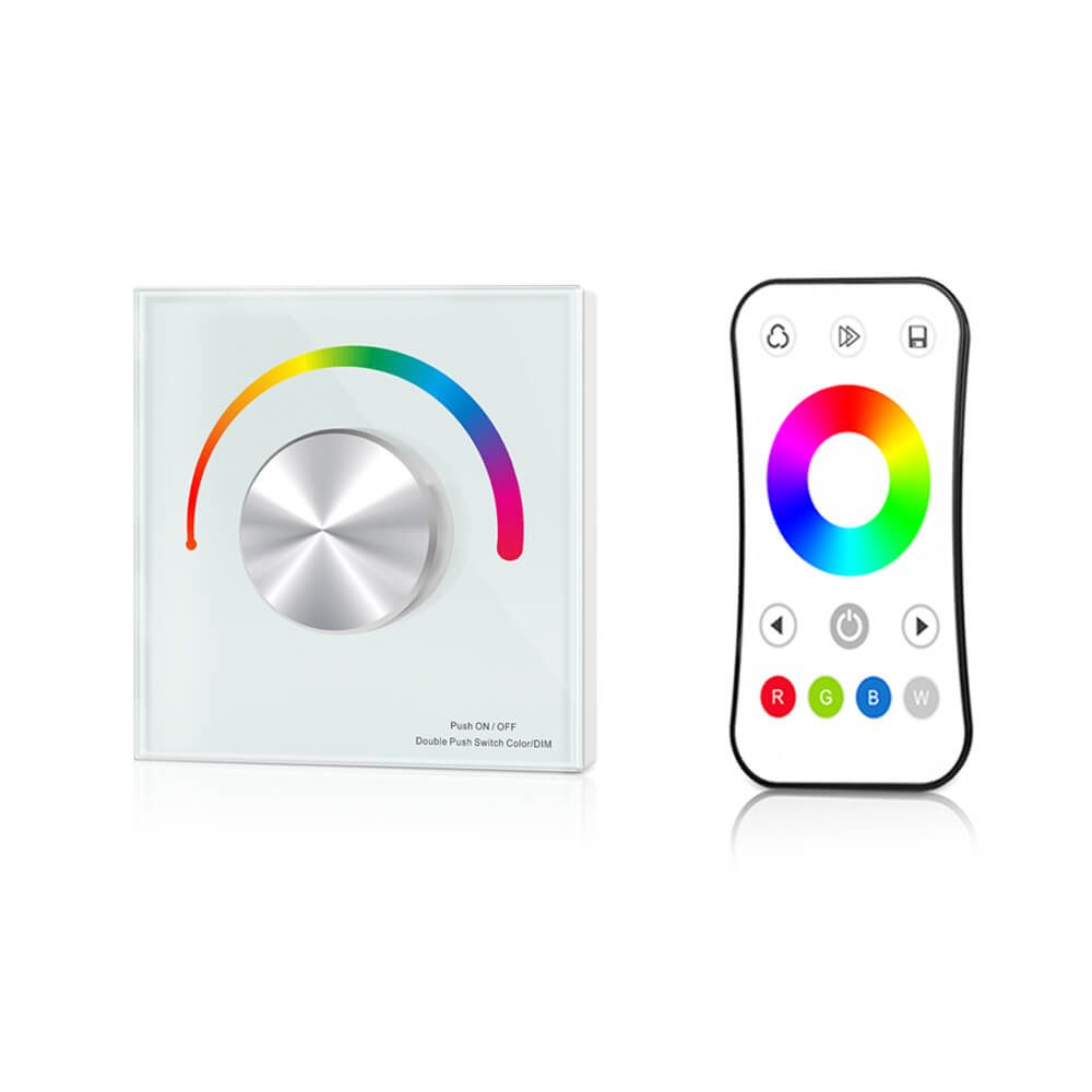 Wall mount RGB <font><b>led</b></font> controller glass panel and touch screen 3V RF <font><b>remote</b></font> <font><b>dimmer</b></font> DC12V-24V <font><b>led</b></font> <font><b>strip</b></font> tape RGB <font><b>led</b></font> controller image