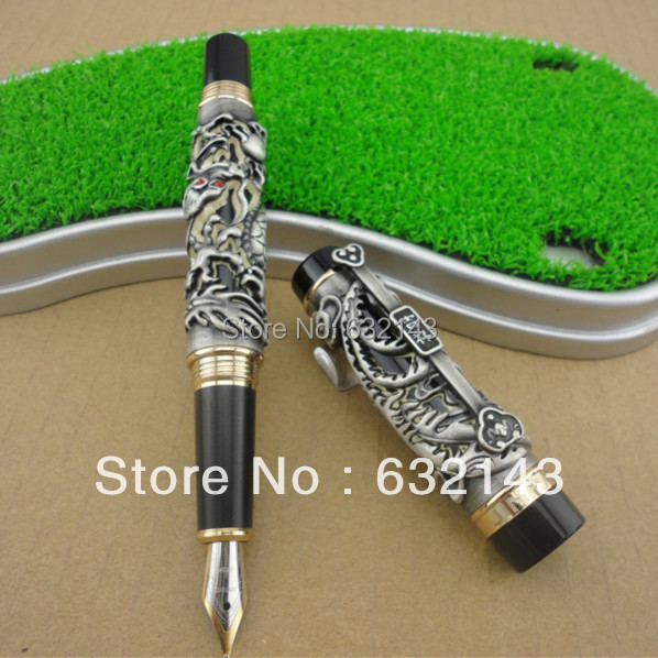 FREE SHIPPING NEW JINHAO GRAY FOUNTAIN PEN 0.7mm BROAD NIB TWO DRAGON PLAY THE PEARL WITHOUT ORIGINAL BOX fountain pen m nib hero 1508 dragon clip signature pens the best gifts free shipping