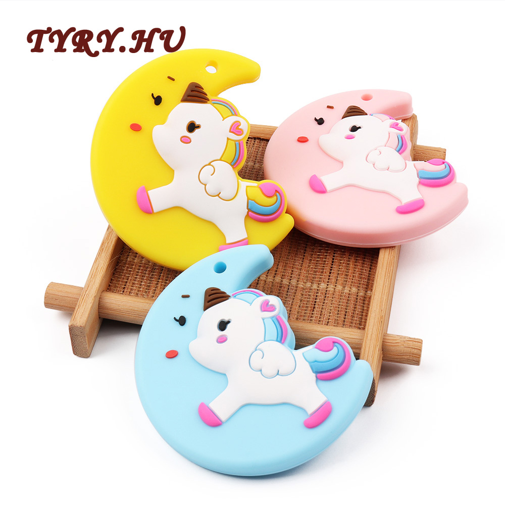 TYRY.HU 10Pcs Lovely Moon Unicorn Teether Toys Food Grade Safety Material BPA Free for DIY Baby Nursing Chewing Necklace Pendant