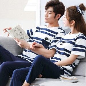 Image 2 - Summer Men Pajamas Set Cotton Striped Short Sleeve Round Neck Couple Pajamas Set Plus Size M 3XL Leisure Loose Lovers Pyjamas