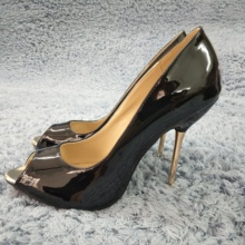 Women Stiletto Thin Iron High Heel Pumps Sexy Peep Toe Black Patent Fashion Party Bridal Ball Office Lady Shoes 3845-a3