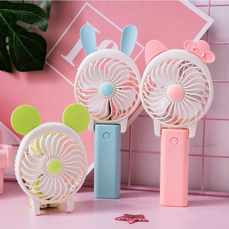 Pink residentD Mini Desktop Fan LED Night Light USB Rechargeable Silent 3-Speed Wind Cartoon Fan