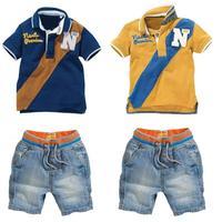 Summer Children Clothing Children S Sets Handsome Cowboy Suit Wholesale Short Sleeve T Shirt Short Pants
