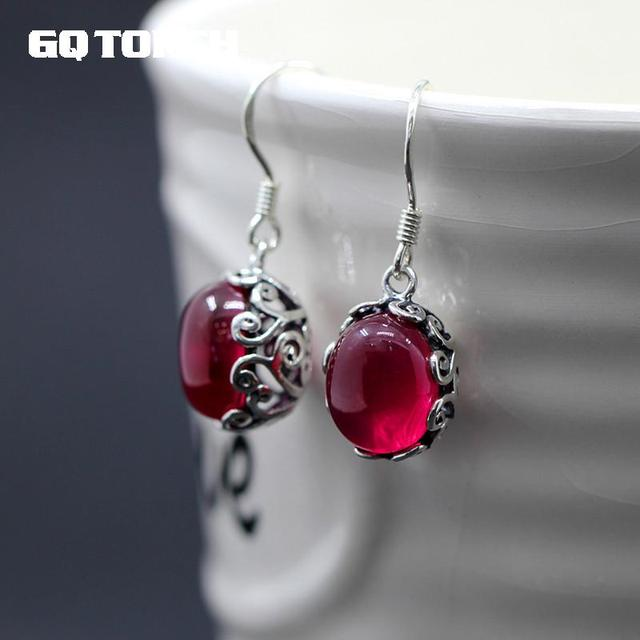 925 Sterling Silver Earrings Hook With Natural Red Garnet Corundum Hollow Flower Vintage Design Ruby Jewelry