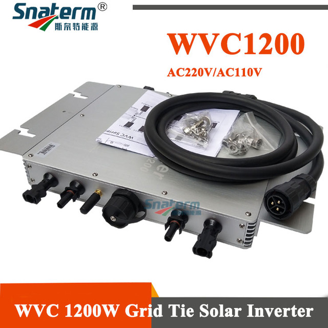 WVC Micro onduleur de puissance MPPT, 1200W, 1200 v ac, 110v ac, W, micro onduleur de puissance à onde sinusoïdale pure lié au réseau