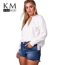 Kissmilk Women Plus Size V Neck Tassel Hollow Out Hoodies Long Sleeve Solid Loose Basic Autumn Tops Big Size Streetwear Hoodies все цены