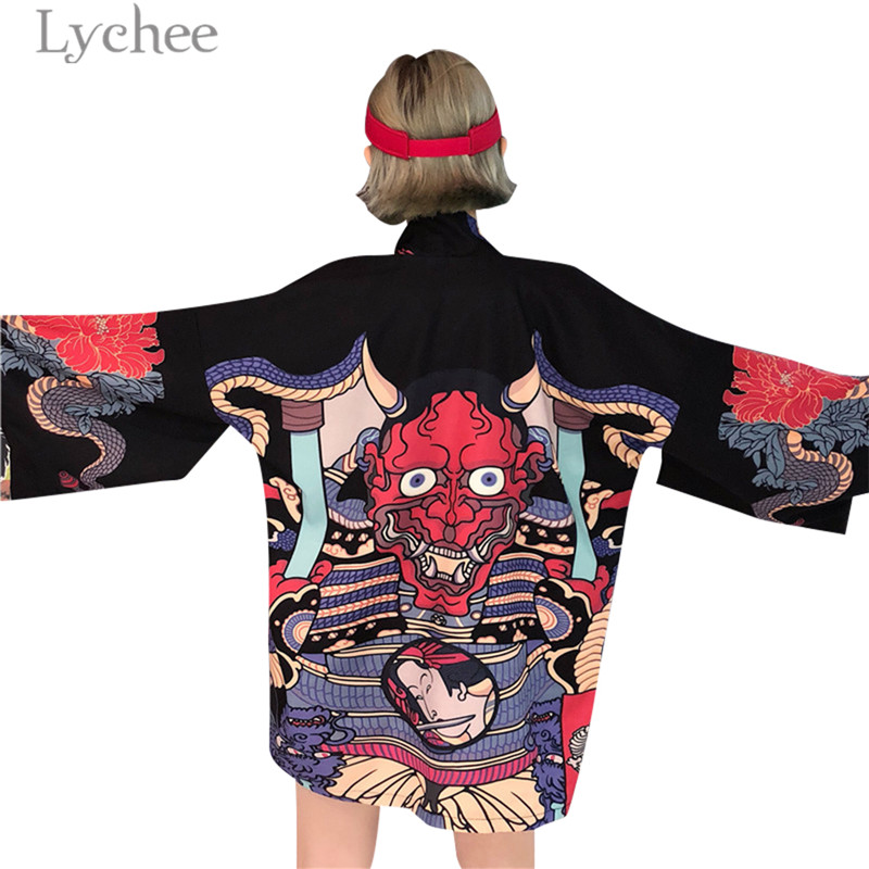 Lychee Harajuku Cartoon Demon Print Kimono Summer Man Women Cardigan Causal Female Blouse Shirt Loose Japan Style Outerwear cardigan