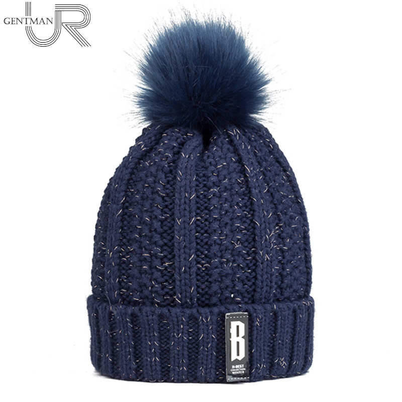 2017 New Pom Poms Winter Hat For Women Fashion Solid Warm Hats Knitted Beanies Cap B Letter Thick Female Fur Cap real mink pom poms wool rabbit fur knitted hat skullies winter cap for women girls hats feminino beanies brand hats bones