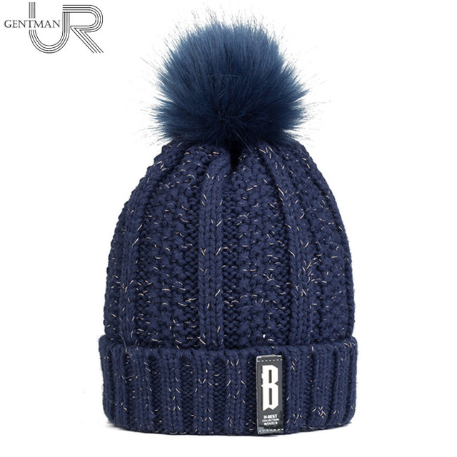a442c98b44180 2017 New Pom Poms Winter Hat For Women Fashion Solid Warm Hats Knitted  Beanies Cap B