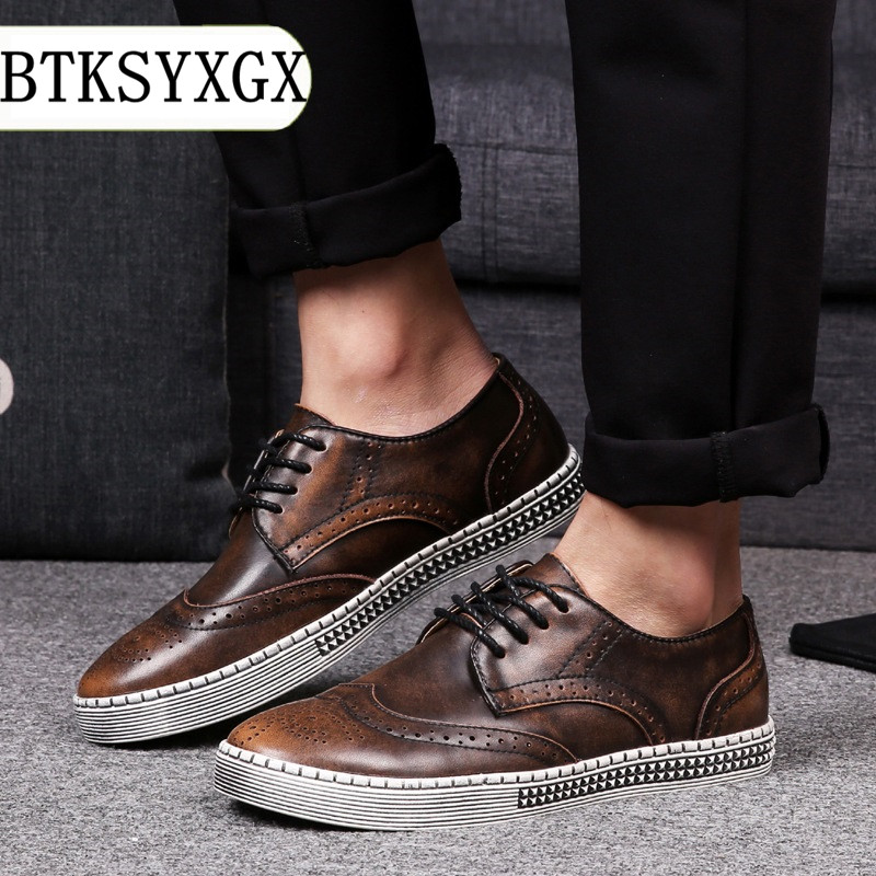 BTKSYXGS Men casual shoes Male 100% genuine leather 2017 New Spring Autumn fashion Men's flats shoes Man plus SIZE 38-48 Color 3 цены онлайн