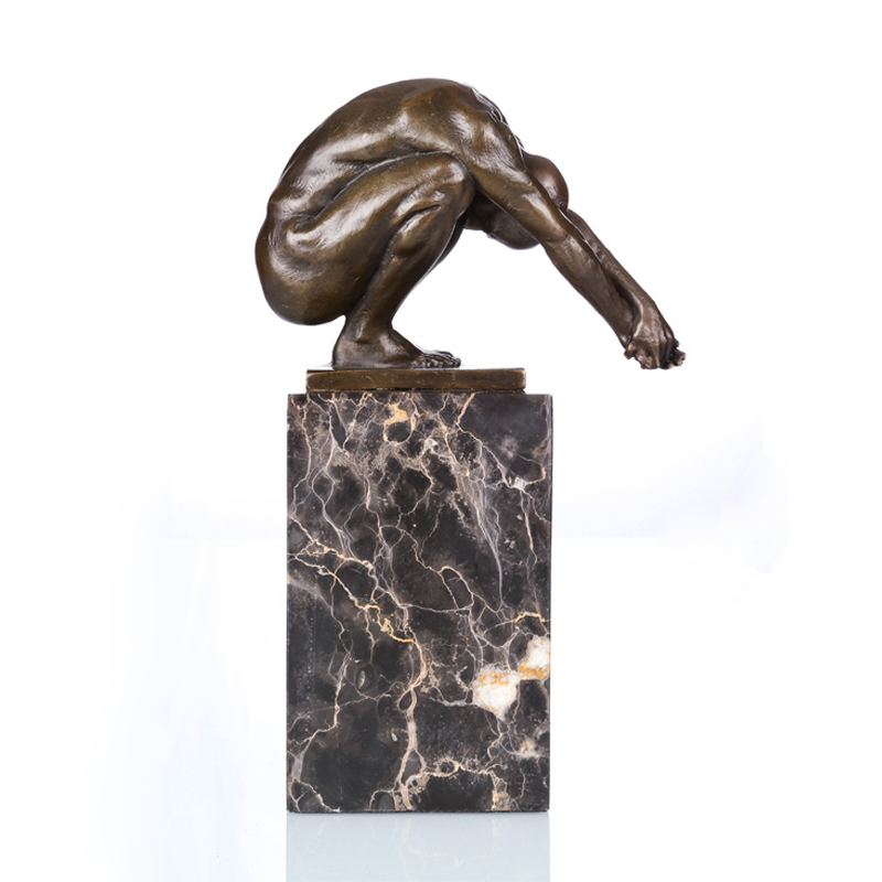 ATLIE Nude Man Bronze Sculptures Taking Exercise Naked Male Bronze Statue Figurine For Gym Decoration