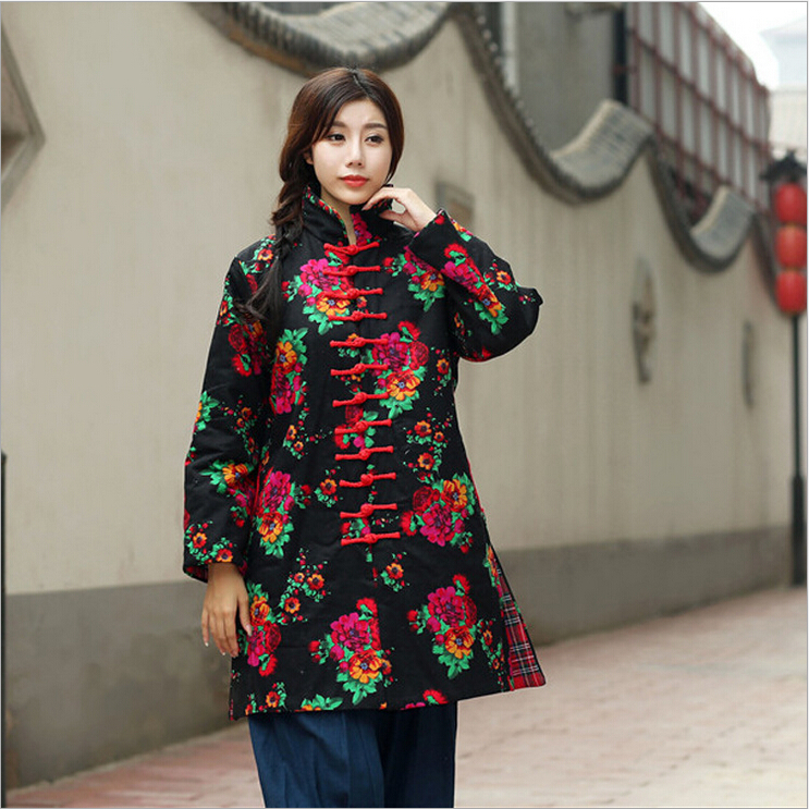 Winter chinese style retro frog contrast color frog and print jacket coat cotton padded jacket windbreaker winter chinese style retro frog contrast color frog and print jacket coat cotton padded jacket windbreaker