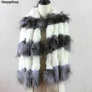 Bufanda de piel de zorro de invierno para mujer de punto genuino Cuello de piel de conejo Rex Real cálido cuello estola borla plateada natural bufandas de piel de zorro