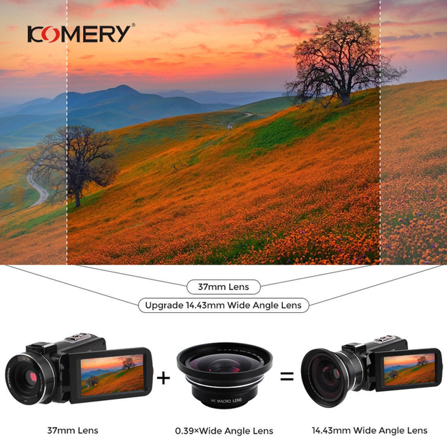 KOMERY 4K Camcorder Video Camera Wifi Night Vision 3.0 Inch LCD Touch Screen Time-lapse Photography Camera Fotografica With Micr 5