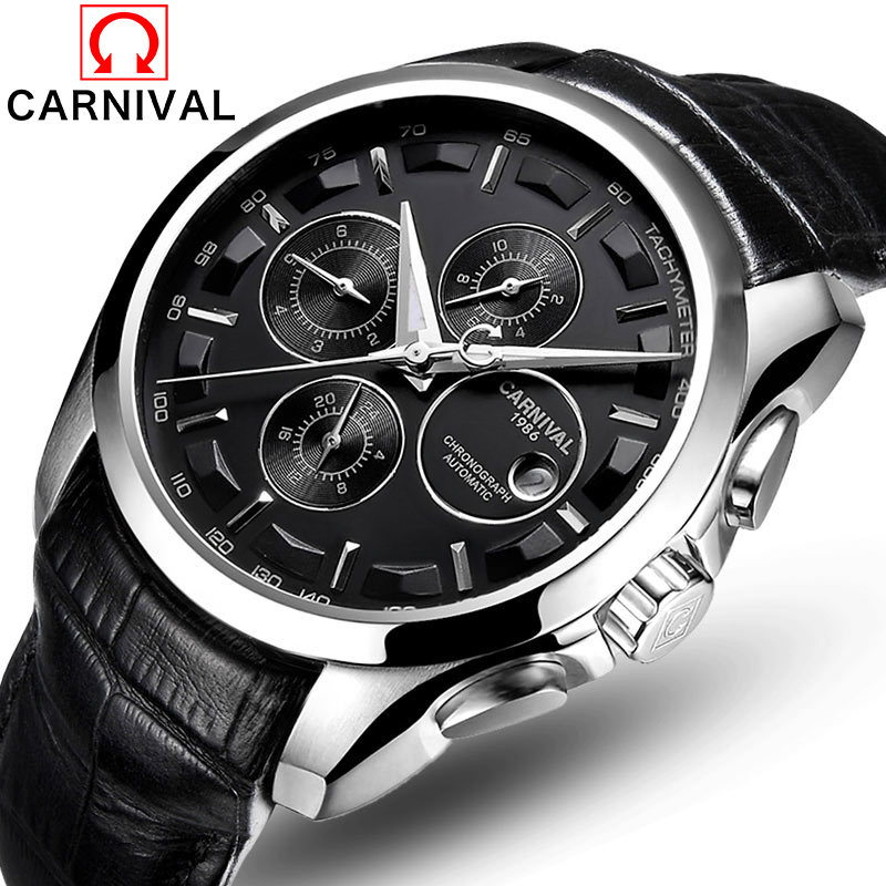 Carnival Top Brand Luxury Automatic Mechanical Watch Men Leather Steel Strap Waterproof Fashion Casual Male Clock saat erkekler skmei 6911 womens automatic watch women fashion leather clock top quality famous china brand waterproof luxury military vintage