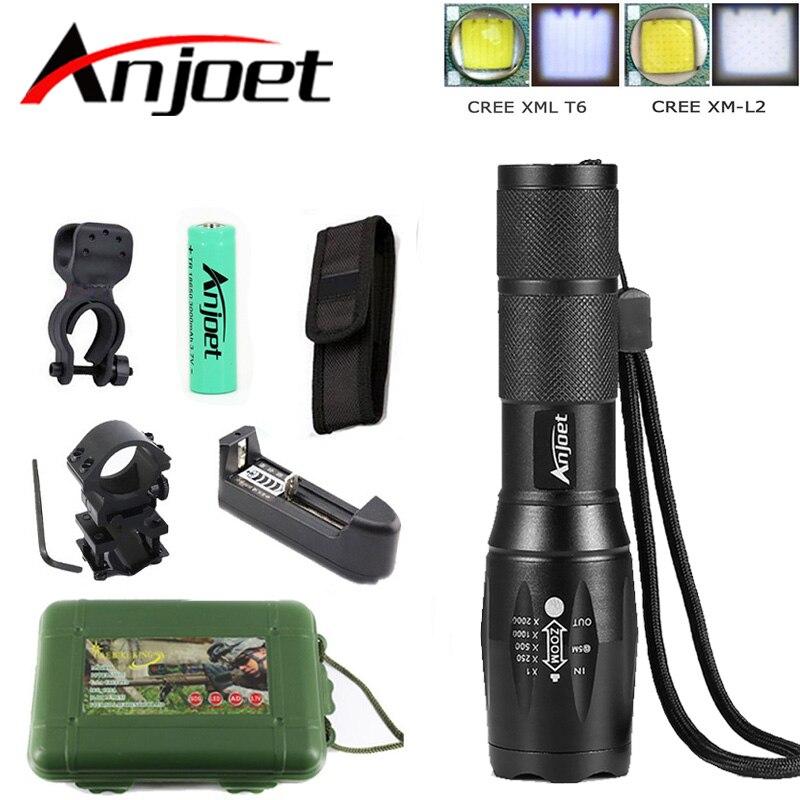 Anjoet A100 Memburu Set Lampu suluh taktikal Cree XM-L2 Zoomable obor - Lampu mudah alih