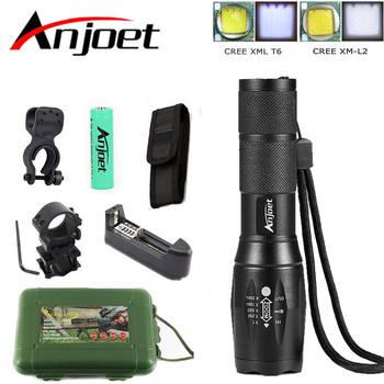Anjoet A100 Hunting Set Tactical flashlight cree XM-L2 Zoomable torch led Waterproof flash light for 18650 Rechargeable battery