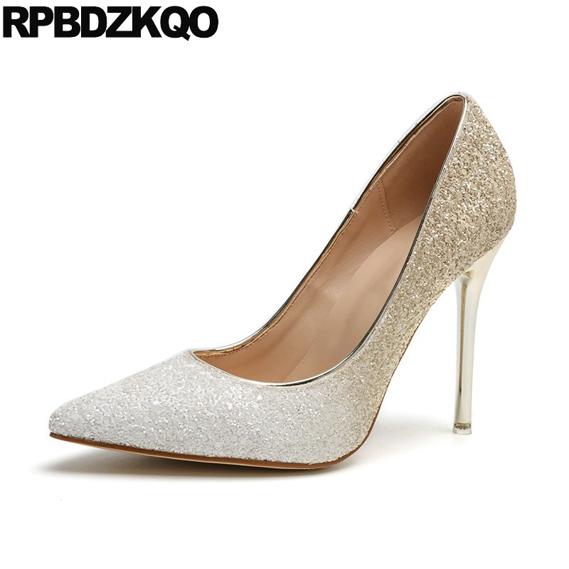 Pointed Toe Pumps Extreme Women Gold Party High Heels Bling Thin Glitter Bride Super Sequin Multi Colored Shoes 3 Inch Ultra