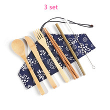 Portable Bamboo Cutlery Set Wooden Tableware Fork Knife Spoon Set Eco-Friendly Bamboo Straw Cloth Pack for Travel Dinner Set portable bamboo korean cutlery set wooden tableware knife fork spoon set with eco friendly bamboo straw for travel cutlery set