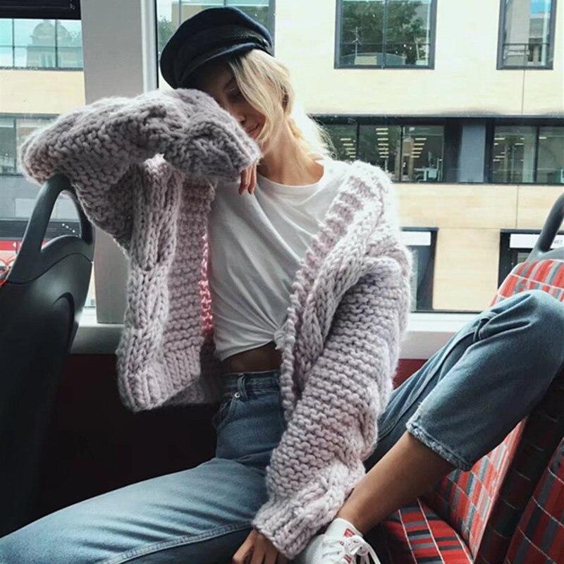 2018 Femmes Cws0055 Cardigans Streetwear Automne Surdimensionné Solide souris Noir Tricoté rose bleu 5 Marque Hiver Chauve Chaud Pulls Tricots SwXS8Rrq