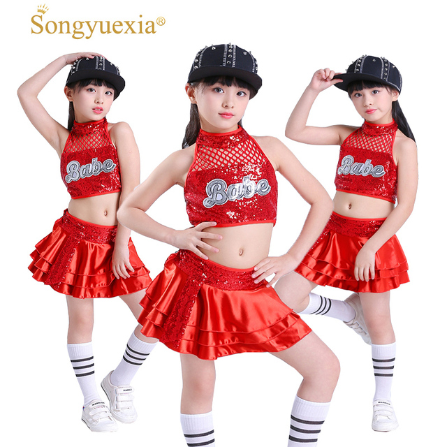 e93f8a5ad Songyuexia jazz dance costume girl Red hip hop dance costumes kids ...