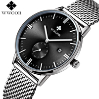 WWOOR Men Business Watch Top Brand Luxury Men S Watches Fashion Casual Luminous Stainless Steel Mesh
