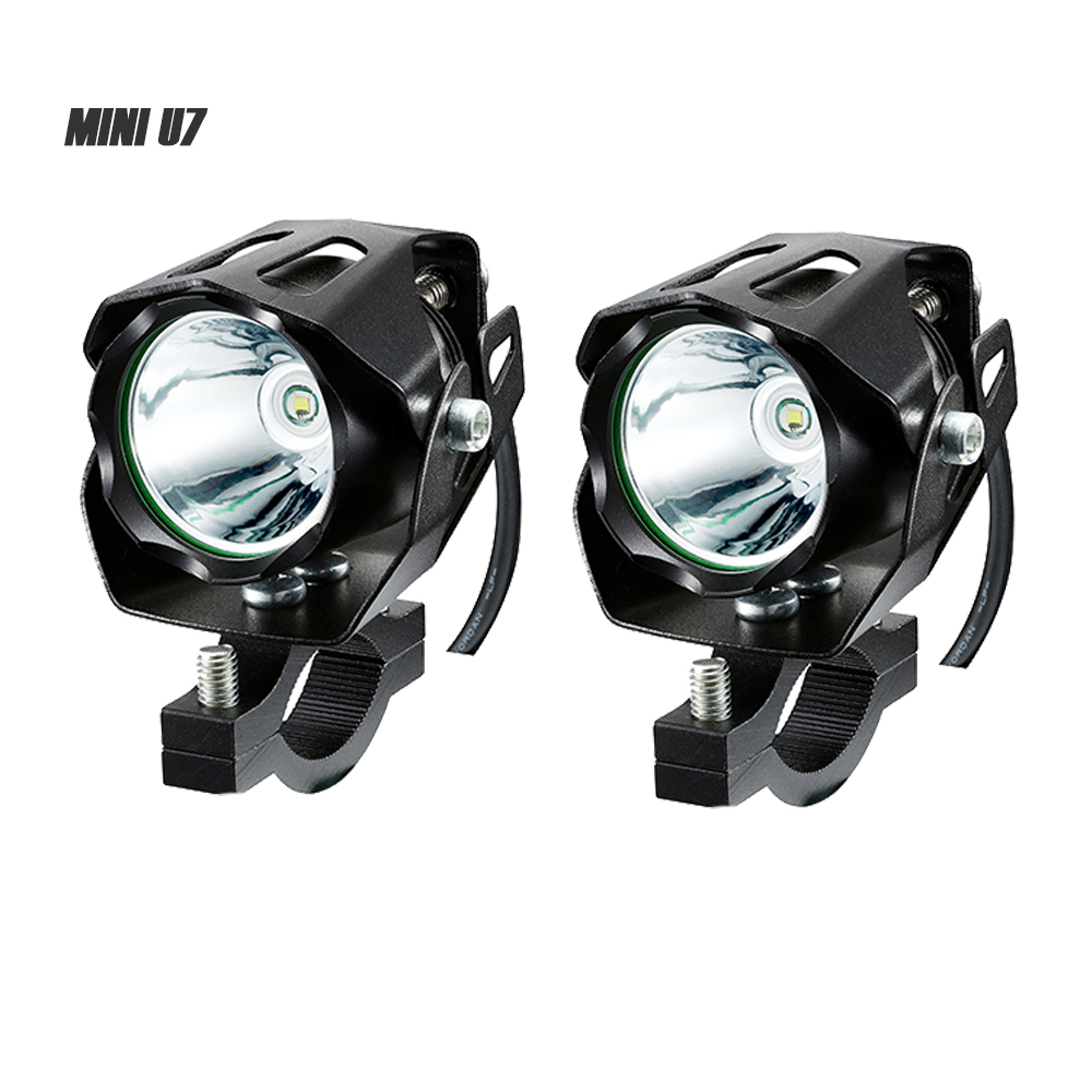 BOSMAA 2PCS Mini U7 125W 12 85V Motorcycle antinieble LED Headlight 3000LM Motorbike Spotlight Driving Fog