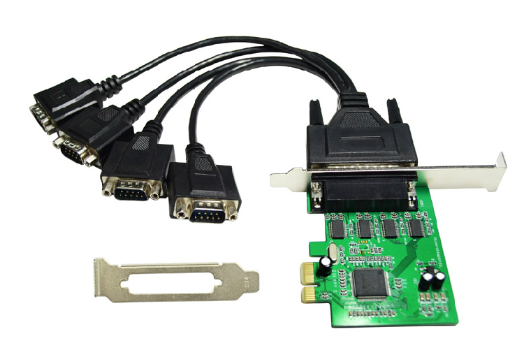 4 port Serial RS232 RS-232 COM port to PCI-e Express PCIE Adapter with Cable 9904 Chip цена