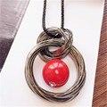 Новые круги имитация перл бал подвеска длинное ожерелье женщин черные цепи оптовая продажа ювелирных изделий подарков бесплатная доставка