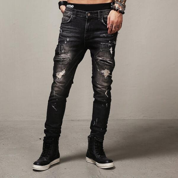 ФОТО Motorcycle Jeans Men Ripped Straight Fit 2017 New Fashion Male Biker Jeans With Zippered Pockets Free Shipping