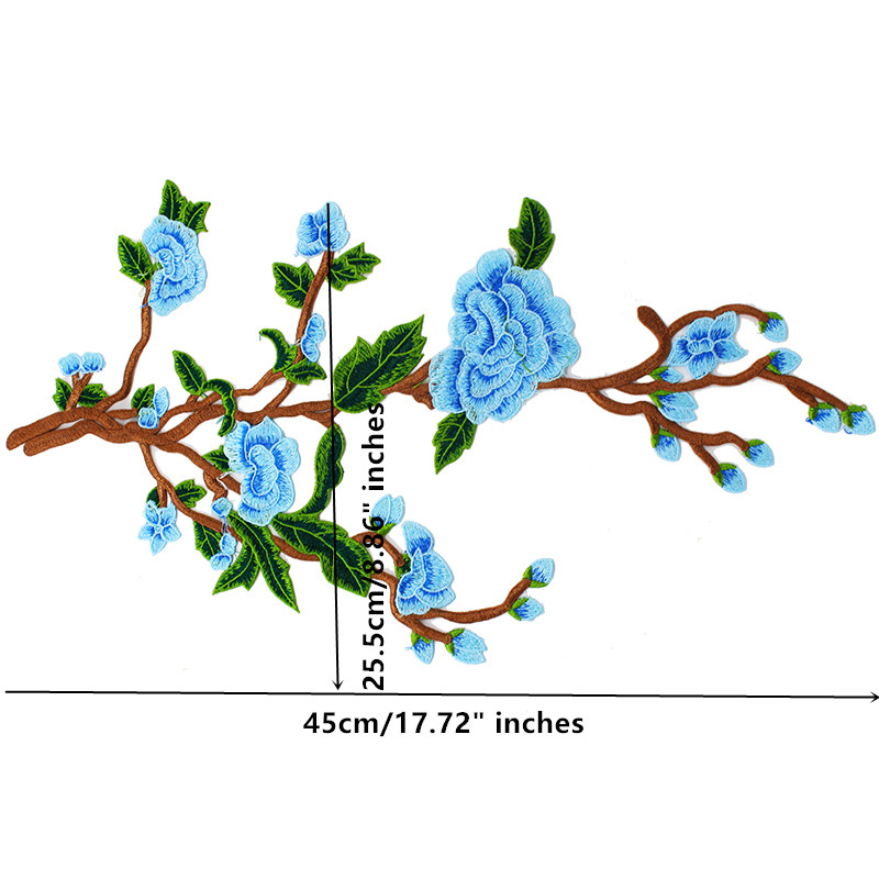 10piece Blue Green Lace Embroidery Patches Flower Lace Fabric Applique Motif Trimming apliques costura for Craft DIY T1716