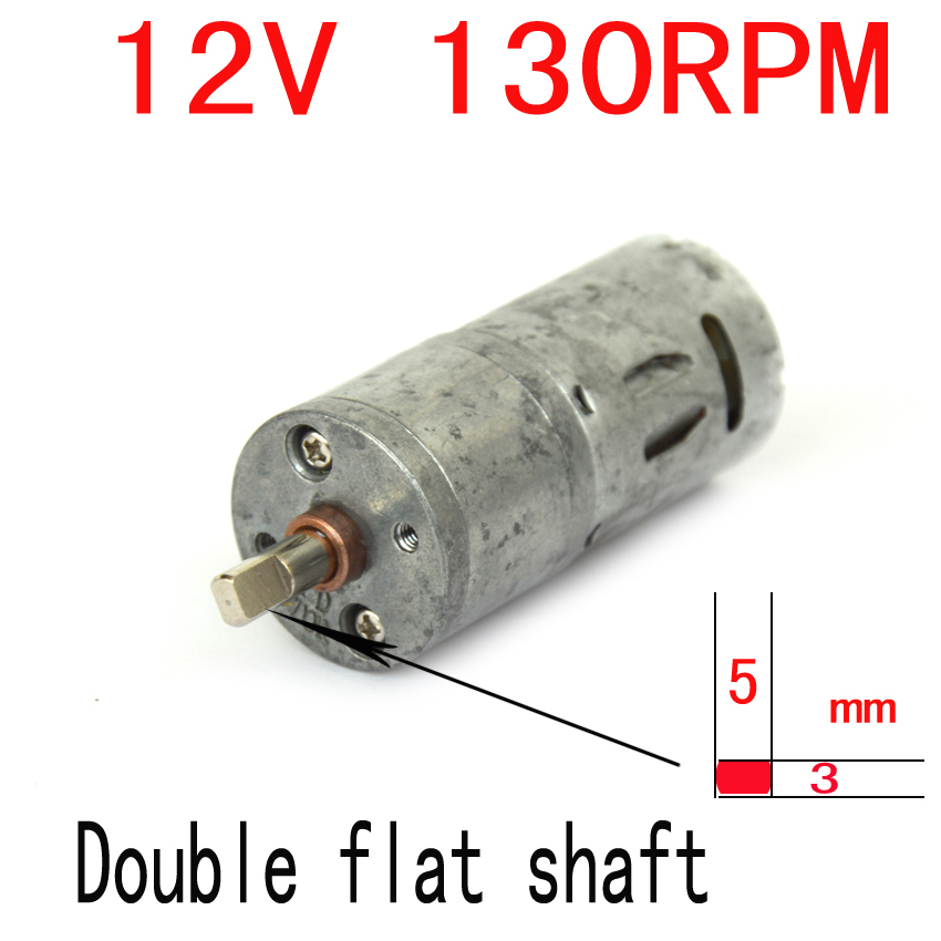 US $7 0  Non New Double flat shaft 12v dc motor 25MM 12V 130RPM Powerful  High Torque DC Gear Box Motor-in DC Motor from Home Improvement on  AliExpress